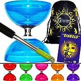 Cyclone QUARTZ PRO Diabolo Set (6 Farbvarianten) Freiläufer (mit kugellager) Dreifache Lagerung Kombi-Set + Diablo Alu-Handstäbe, Diaboloschnur + Mr Babache Booklet von Tricks + Reisetasche!(Bleu)