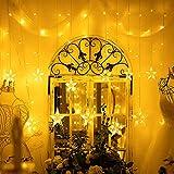 LED Lichterkette mit 12 Sterne, 138er LED Lichtervorhang weihnachtslichter Sternenvorhang 8 Modi Für Innen Außen, Sterne Vorhang Lichter, Weihnachten, Party, Hochzeit, Garten, Balkon, Deko (Warmweiß)