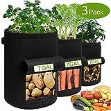 Pflanzsack aus Vliesstoff, Kartoffel Pflanzsack 7 Gallonen,Pflanzsack mit Griffe aus Filzstoff Pflanze Grow Bag für Tomaten,Blumen,Pflanzen und Mehr, mit Fenster/Klettverschluss/