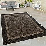 Paco Home In- & Outdoor Flachgewebe Teppich Modern Bordüre Natürlicher Look In Braun, Grösse:160x220 cm