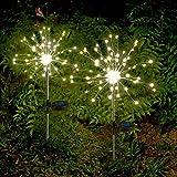2 x Solarleuchten für Garden Warmweiß LED Feuerwerk lichterkette Außen Stecker Solarleuchten mit Funkeln und Dauerlicht 2 Beleuchtungsmodi für Garten, Balkon und Terrasse [Energieklasse A++]