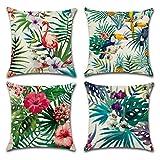 Freeas Kissenbezug 45 x 45 cm, Baumwolle Leinen Tropische Pflanzen Kissenhülle Taille Wurf Kopfkissenbezug für Zuhause und Sofa, Schlafzimmer Dekoration, 4 Stück (Set-A)