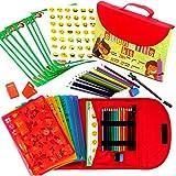 Schablonen Zeichnungs-Set für Kinder großes 55-teiliges amüsantes Reisetätigkeits-Set, Organizer Koffer mit 280 Formen, Kunsthandwerk für Mädchen und Jungen | Hervorragendes Geschenk für Kinder