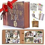MMTX DIY Scrapbook Fotoalbum, Our Adventure Book Gästebuch Album für Reise Valentinstag Hochzeit Geburtstag Jahrestag Geschenk 80 Seiten (40 Blatt) mit Aufbewahrungsbox und Zubehör-Kit