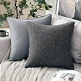 MIULEE 2er-Set Spleiß Kissenbezug aus Polyster und Leinen Dekokissen Weich Deko mit Verstecktem Reißverschluss Spaß Sofakissen für Sofa Schlafzimmer Wohnzimmer 45x45 cm Dunkelgrau