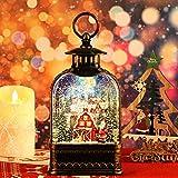 Heasylife Weihnachten Schneekugel Musikalische beleuchtete Laterne Weihnachten Glitzernde wirbelnde beleuchtete Wasserlaterne Weihnachtsmann-Globuslaterne