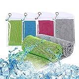 Ulikey 4 Stück Kühlendes Handtuch, Cooling Towel 30 x 100 cm, Sporthandtuch Ultraleicht Kühltuch, Schnelltrocknend Reisehandtuch, Mikrofaser Handtuch für Sport & Fitness, Laufen, Reise & Yoga