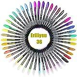 36 Stück Glitzer Gelschreiber Gelstifte Multicolor Gel Stift Set für Erwachsene Färbungsbücher Zeichnung Malbücher, mit tollen Farben - metallic, neon, glitter, Gel-Tintenroller (36 Stück)