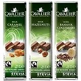 Dafortos Cavalier - Stevia-Schokoriegel-Auswahl VI - 3x40g - Vollmilch mit Karamellgeschmack, Vollmilch-Haselnuss, Milch-Banane-Kakaobohne