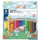 Staedtler Noris Club 144 NC24 Buntstifte, erhöhte Bruchfestigkeit, sechskant, Set mit 24 brillanten Farben, kindgerecht nach DIN EN71, umweltfreundliches PEFC-Holz