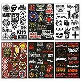 makstore 88 Stücke Metal Punk Rock Band Sticker Rock and Roll Aufkleber für Auto Laptop Handy Motorrad Fahrrad Graffiti Skateboard, wasserdicht, 6 Blätter A4