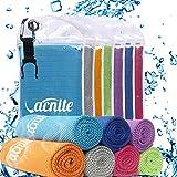 VACNITE Mikrofaser kühlendes Handtuch, 100cm x 30 cm, Tragbare Tasche mit Cliphaken. für Sauna, Fitness, Sport und Outdoor-Aktivitäten (Blue)