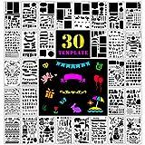 Fansteck Zeichenschablonen, 30 Stück Plus 1 Mini Pauch für Bullet Journal, Filofaxing, Kunnststoff Zeichnung Malerei Schablone für Kunst-Projekte, Scrapbooking, Fotoalbum, Weinachtskarten, Tagebuch