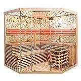 Home Deluxe - Traditionelle Sauna - Skyline XL BIG Kunststeinwand - Holz: Hemlocktanne - Maße: 200 x 200 x 210 cm - Inkl. komplettem Zubehör