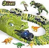 burgkidz Dinosaurier Spielzeug Schienen, 260 Stück Dinosaurier Weltrennstrecken Spielset mit 3 Triebwagen und 7 Dinosaurierspielzeugen, Stengel pädagogisches Geschenk für Kinder ab 3 Jahren