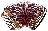 Alpenklang 4/III Harmonika'Deluxe' F-B-Es-As Nuss (Steirische Harmonika/Knopfakkordeon, Blumendesign, Holz, mit Koffer und Riemen)
