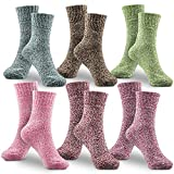Damen Socken Wintersocken, Winter Wollesocken 6 Pack Dicke Baumwolle Stricksocke Bunte Farben Baumwollsocken Einheitsgröße Atmungsaktiv Weich Warm Socken