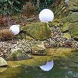 Dapo Kugelleuchte Außenleuchte 2er Set (20 + 20cm) Marlon Kugellampe, Gartenleuchte mit Erdspieß, E27, Gartenlampe Dekoration