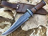 Perkin Knives Damast Jagdmesser mit Lederscheide - Bowie Messer