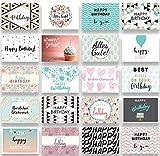Friendly Fox Geburtstagskarten Set - 20 Glückwunschkarten zum Geburtstag - Happy Birthday Set mit 20 Grußkarten Postkarten für Erwachsene & Kinder