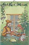 Ekelund Pettersson & Findus Weihnachtshandwerk Geschirrtuch (Öko-Tex) 40x60 cm grün, rot, braun, Mehrfarbig