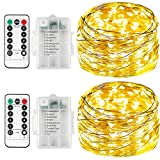 Lichterkette-batterie für kinderzimmer[2Pack],Innen-LED,Timer-Fernbedienung mit IP65 Wasserdicht[5M] (Warmes Weiß)