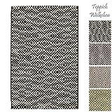 Teppich Wölkchen Outdoor-Teppiche für Draußen   Balkon Terrasse Garten Küche   Wetterfest Wasserfest und UV-Beständig mit ÖKO-TEX 100   Dunkelgrau - Raute - 120 x 170 cm