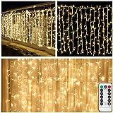 LED Lichtervorhang Batteriebetrieben,4m x 1m,200 LED Eiszapfen Vorhang Lichter Lichterkette mit Fernbedienung,8 Modi Dekorative Lichter für Weihnachten,Party,Schlafzimmer Innen außen Deko-Warmes Weiß