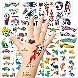 Tattoo Kinder, AGPTEK Dino Tattoos Set, 14 Blätter Wasserdichte Kindertattoos mit Dinosaurier, Fußball und Fahrzeuge, Aufkleber für Jungs, Kindergeburtstag Mitgebsel, Party, Festival, 250 Stücke
