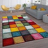 Paco Home Kurzflor Wohnzimmer Teppich Bunt Karo Design Vierecke Mehrfarbig Farbenfroh, Grösse:120x170 cm
