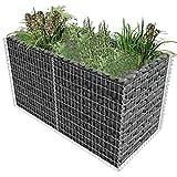 Festnight- Gabionen Pflanzenkorb Hochbeet für Stützmauern Gartenzaun Gabionenwand aus Stahl 180×90×100 cm Silbern