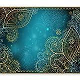 murando Fototapete 350x256 cm Vlies Tapeten Wandtapete XXL Moderne Wanddeko Design Wand Dekoration Wohnzimmer Schlafzimmer Büro Flur Orient Ornament bokeh grau gold blau türkis f-A-0146-a-b