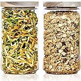 Econovo® Vorratsgläser Set mit Deckel XL (2-teilig) aus verstärktem Borosilikatglas, stapelbar und luftdicht, Vorratsdosen Glas-Behälter Set für Lebensmittel groß und klein 2000ml