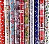 10 Rollen Weihnachtspapier, Geschenkpapier WEIHNACHTEN 2m x0,7m