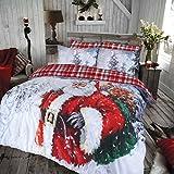 Sleepdown Vintage Weihnachtsmann Bettwäsche-Set Premium Polycotton Wende-Bettwäsche-Set mit Kissenbezügen – Einzelbett