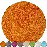 PROHEIM Badematte Lasalle 60 cm rund orange - Rutschfester Badteppich - Weicher und Kuscheliger Hochflor Badvorleger - 1200 g/m² ÖkoTex100 Maschinenwaschbar