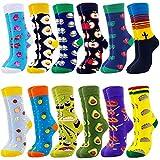 Jielucix Bunte Socken Damen Lustige Baumwolle Farbige Anzugsocken für Frauen 39-42 (12 paare essen, 12)