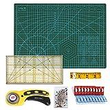 A3 Schneidematte Set + Stoffschneider Rollschneider + Patchwork-Lineal + Stoffklammer (20 Stück) + Stecknadeln (50 Stück) + Schneidermaßband (300cm) 6tlg- Schneidematte Starter Set