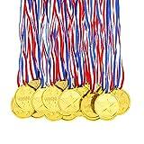 Pllieay 100 Stücke Gold Medaillen Kunststoff Gold Gewinner Medaillen für Kinder Sport Party, Wettbewerb, Preise