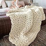 Decke Gestrickte Grobe Strickdecke Wolle Garn Handgefertigt Haustier Bett Stuhl Sofa Super große Arm Stricken Sperrig Decke Zuhause Dekor Geschenk (Beige,100x120cm)