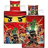 Lego Ninjago Kinder-Bettwäsche Fire Champion - 135x200 cm + 80x80 cm - 100% Baumwolle Linon - Cole - Jay - Kai - Lloyd - Zane - Nya - Misako - Sensai Wu - Renforcé - deutsche Größe - Wende-Motiv
