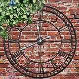Große Garten-Wanduhr mit großen, römischen Ziffern, großes offenes Zifferblatt-Design, Metall, 58cm