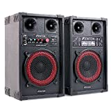 Fenton SPB-8 - PA Lautsprecher, Aktivboxen Set, 400 Watt max, 20 cm (8')-Subwoofer, Bluetooth, USB-Port, SD-Slot, MP3-fähig, schwarz