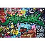GREAT ART Fototapete – Street Style – Wandbild Dekoration Graffiti Art Writing Pop Art Schriftzüge Wall Painting Mauer Urban Abstract Comic Wandtapete Fotoposter Wanddeko (336 x 238 cm)