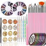 Nail Art Tools Fashion Designer, Stempel Nail Pen Set – 15 Stück Nail Painting Pinsel, 5 Carving/Dotting Stift, Nagelfolie, Maniküre Tape, Farbe Strass für Nägel