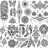 COKTAK 6 Blätter groß Einzigartige Schwarz Temporäre Tätowierung Aufkleber FüR Erwachsene Frauen Feder Mandala Blume Tattoos Spitze Indischen Sexy Hochzeit Tattoos Papier Eule Vögel