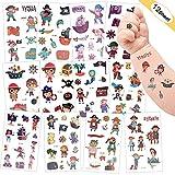 Sporgo Tattoo Kinder, Kindertattoos Piraten Temporäre Tattoo Set Aufkleber für Kinder Party Mitgebsel Kindergeburtstag Geschenktüten Kinder Spielen Piraten Party Zubehör