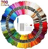 Faminess Stickgarn 200 Farben Embroidery Threads Nähgarne Stickerei Basteln Crafts Floss Set 100% Baumwolle perfekt für Freundschaftsbänder, Stickerei, Knüpfen Knüpfen, BastelnKreuzstich