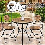 Jago Mosaik Balkonmöbel Set - Tisch rund oder eckig (Ø/H: 60x70cm) mit 2 Stühlen Klappbar (46cm Sitzhöhe), Farbwahl - Sitzgarnitur, Sitzgruppe, Gartenmöbel (Terracotta-Schwarz)