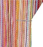 AIZESI Retro Fadenvorhang Türvorhang 90x 200cm Trennwand Fenster Vorhang(Rainbow)